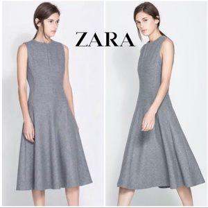 Zara Grey Wool Blend Fit & Flare Sheath Dress - XS